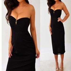 Laundry By Shelli Segal Black Strapless Dress 2 S